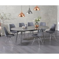 Olivia Extending Dark Grey High Gloss Dining Table with Celine Chairs - Dark Grey, 4 Chairs