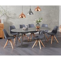 Olivia Extending Dark Grey High Gloss Dining Table with Oscar Faux Leather Round Leg Chairs