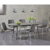 Olivia Extending Dark Grey High Gloss Dining Table with Helsinki Faux Leather Chairs