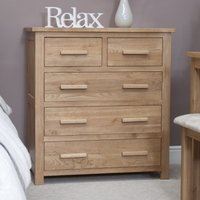 Product photograph showing Rohan Oak 2 Over 3 Chest Of Drawers