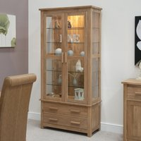 Product photograph showing Rohan Oak And Glass Display Cabinet
