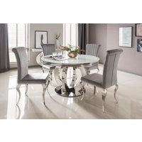 Product photograph showing Orion White Round Dining Table With Nicole Chairs - Silver 4 Chairs