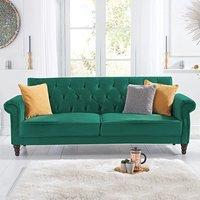 Orlando Green Velvet 3 Seater Fold Down Sofa Bed