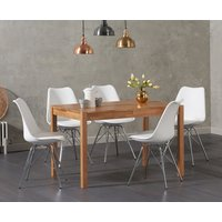 Oxford 120cm Solid Oak Dining Table with Celine Chrome Leg Chairs