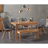 Product photograph showing Oxford 120cm Solid Oak Dining Table With 2 Duke Fabric Chairs And Oxford Bench