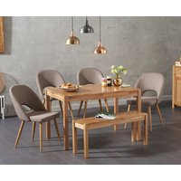 Oxford 120cm Solid Oak Dining Table with Halifax Fabric Chairs and Oxford Bench - Grey, 2 Chairs