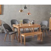 Product photograph showing Oxford 120cm Solid Oak Dining Table With Halifax Faux Leather Chairs With Oxford Bench - Grey 2 Chairs