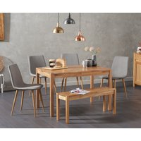 Product photograph showing Oxford 120cm Solid Oak Dining Table With Helsinki Fabric Chairs With Oxford Bench - Grey 2 Chairs