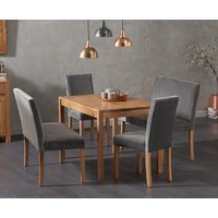 Oxford 120cm Solid Oak Dining Table with Mia Grey Velvet Benches with Backs and Mia Velvet Chairs - Grey, 2 Chairs