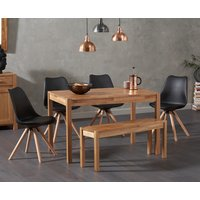 Product photograph showing Oxford 120cm Solid Oak Dining Table With Oscar Faux Leather Round Leg Chairs And Oxford Bench