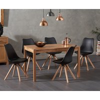 Oxford 120cm Solid Oak Dining Table with Oscar Faux Leather Round Leg Chairs