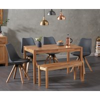 Oxford 120cm Solid Oak Dining Table with Oscar Square Leg Faux Leather Chairs and Oxford Bench - Dark Grey, 2 Chairs