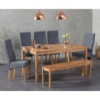 Oxford 150cm Solid Oak Dining Table with Juliette Fabric Chairs and Oxford Bench - Grey, 2 Chairs