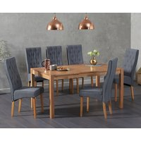 Oxford 150cm Solid Oak Dining Table with Juliette Chairs - Grey, 6 Chairs