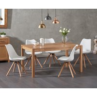 Oxford 150cm Solid Oak Dining Table with Oscar Faux Leather Round Leg Chairs