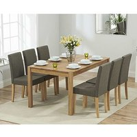Product photograph showing Ex-display Oxford 150cm Solid Oak Dining Table With 4 Brown Mia Fabric Chairs