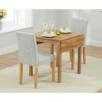 Ex-display Oxford 70cm Solid Oak Extending Dining Table With 2 GREY Mia Fabric Chairs