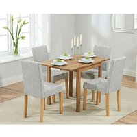 Product photograph showing Ex-display Oxford 70cm Solid Oak Extending Dining Table With 4 Grey Mia Fabric Chairs