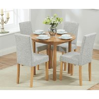 Oxford 90cm Solid Oak Extending Dining Table with Mia Chairs - Brown, 2 Chairs