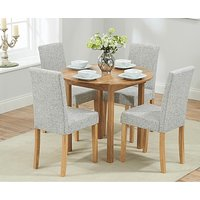 Product photograph showing Ex-display Oxford 90cm Solid Oak Extending Dining Table With 2 Grey Mia Chairs