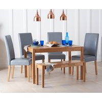 Read more about Oxford 120cm solid oak dining table with benches and albany chairs
