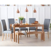 Read more about Oxford 150cm solid oak dining table with benches and albany chairs