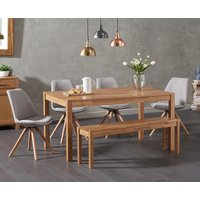Product photograph showing Oxford 150cm Solid Oak Dining Table With Oscar Fabric Round Leg Chairs And Oxford Bench