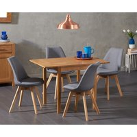 Oxford 70cm Solid Oak Extending Dining Table with Duke Fabric Chairs