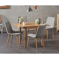 Product photograph showing Ex-display Oxford 70cm Solid Oak Extending Dining Table With 2 Grey Helsinki Fabric Chairs