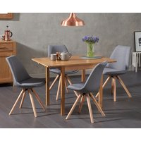 Oxford 70cm Solid Oak Extending Dining Table with Oscar Round Leg Fabric Chairs