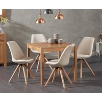 Oxford 80cm Solid Oak Dining Table with Oscar Round Leg Fabric Chairs