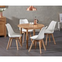Oxford 90cm Solid Oak Drop Leaf Extending Dining Table with Duke Faux Leather Chairs