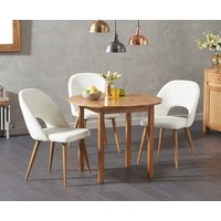 Oxford 90cm Solid Oak Drop Leaf Extending Dining Table with Halifax Faux Leather Chairs - Grey, 2 Chairs