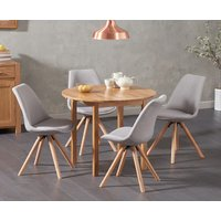 Oxford 90cm Solid Oak Drop Leaf Extending Dining Table with Oscar Round Leg Fabric Chairs