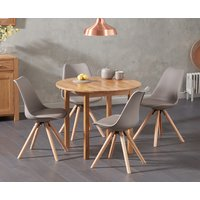 Oxford 90cm Solid Oak Drop Leaf Extending Dining Table with Oscar Round Leg Faux Leather Chairs