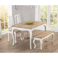 Read more about Parisian 130cm shabby chic dining table with chairs and benches - white- 2 chairs