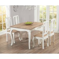 Read more about Parisian 130cm shabby chic dining table with chairs - white- 4 chairs