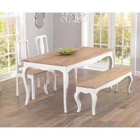04a39d6627 Product photograph showing Parisian 175cm Shabby Chic Dining Table With  Chairs And Benches - White 2