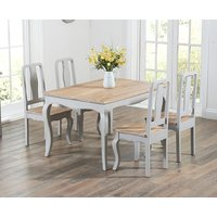 Product photograph showing Parisian 130cm Grey Shabby Chic Dining Table With Chairs - Grey 4 Chairs