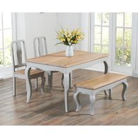 Product photograph showing Parisian 130cm Grey Shabby Chic Dining Table With Chairs And Benches - Grey 2 Chairs