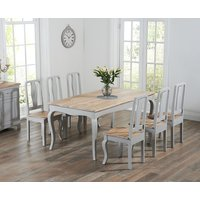Product photograph showing Parisian 175cm Grey Shabby Chic Dining Table With Chairs