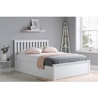 Detroit White Small Double Ottoman Bed