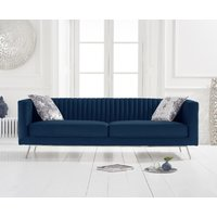 Product photograph showing Danube Blue Velvet 3 Seater Sofa