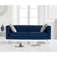Product photograph showing Danube Blue Velvet 2 Seater Sofa