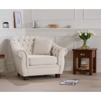 Read more about Lilly chesterfield ivory linen fabric armchair