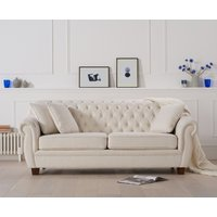 Product photograph showing Lilly Chesterfield Ivory Linen Fabric Three-seater Sofa