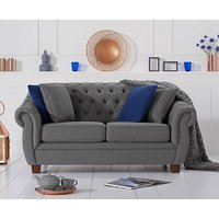 Product photograph showing Ex-display Lilly Chesterfield Grey Linen Fabric Two-seater Sofa
