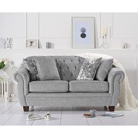 Product photograph showing Ex-display Lilly Chesterfield Grey Plush Fabric Two-seater Sofa