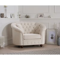 Read more about Chloe chesterfield ivory linen fabric armchair