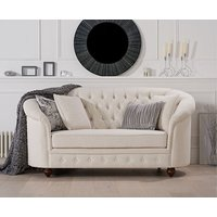 Product photograph showing Ex-display Chloe Chesterfield Ivory Linen Fabric Two-seater Sofa